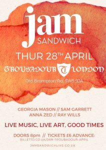 Poster for Jam-Sandwich live music at The Troubadour London 28th April 2016