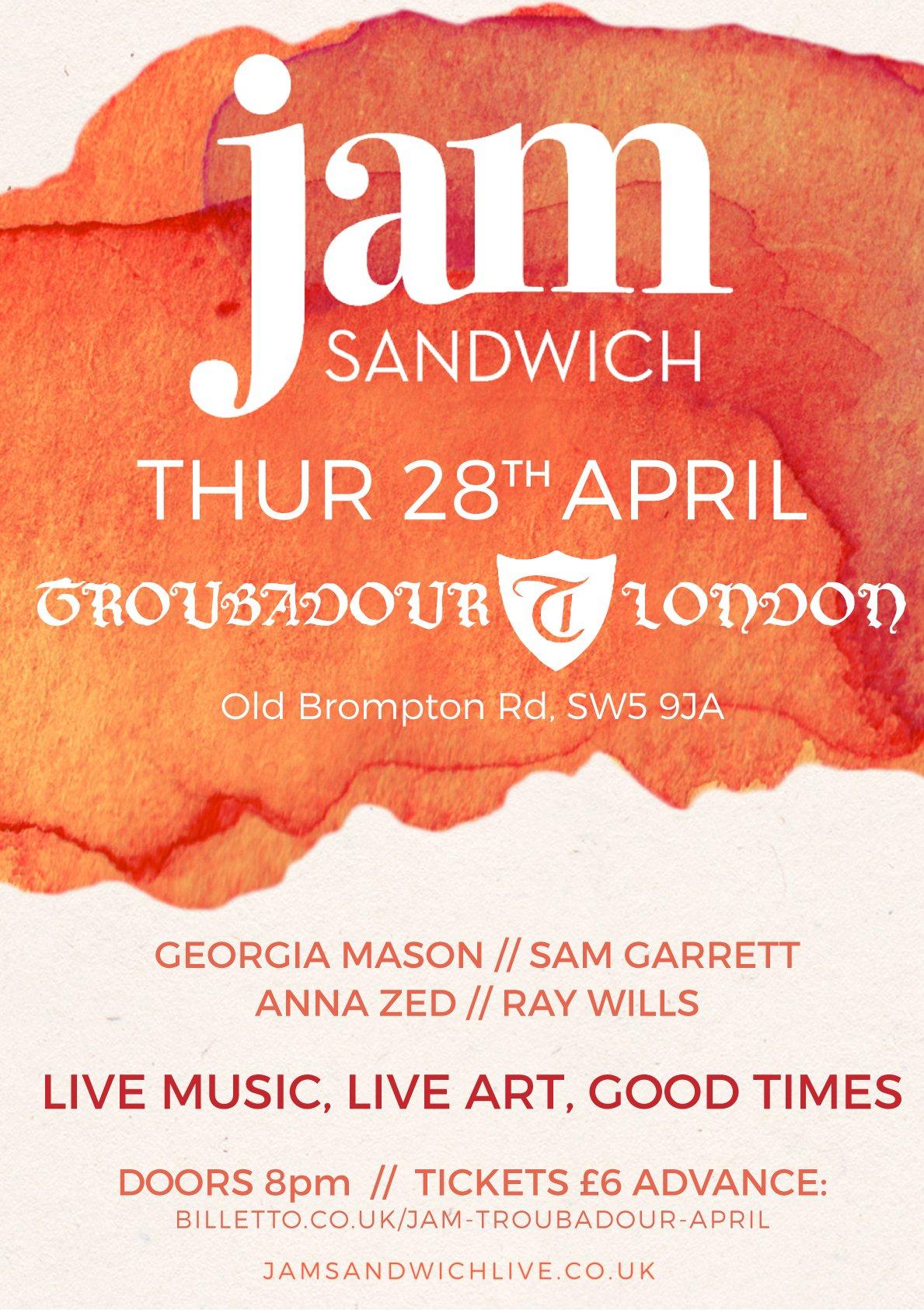 Poster for Jam-Sandwich live music at The Troubadour London 28th April 2016