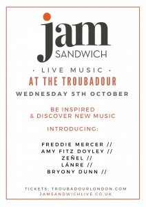 Gig poster: Freddie Mercer, Zeñel, Lanre, Amy Fitz Doyley and Bryony Dunn live music at The Troubadour, London, Wednesday 5th October
